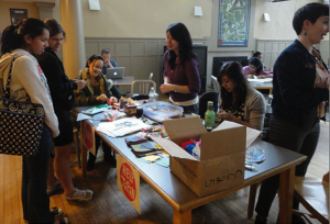 Bryn Mawr students collecting donations for relief efforts after the Tohoku earthquake of 2011 —Photo courtesy of Bryn Mawr College