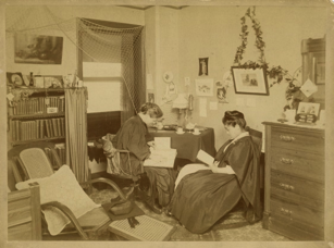 Umeko Tsuda and another student in her dormitory room at Bryn Mawr College, c. 1890 — Photo courtesy of Bryn Mawr College Archives