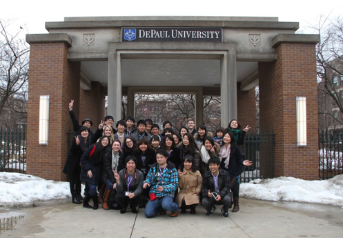 DePaul University and Ritsumeikan University students together in Chicago —Photo courtesy of DePaul University